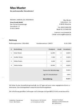 Rechnungsvorlage für Privatpersonen