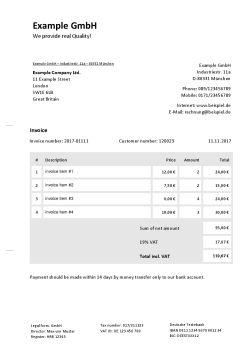 Rechnungsvorlage auf Englisch