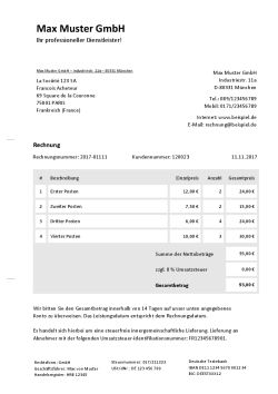 Rechnungsvorlage innergemeinschaftliche Lieferung