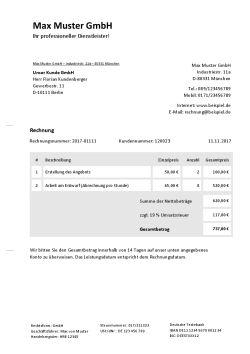 Rechnungsvorlage Dienstleistung