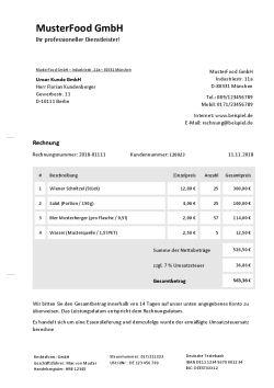 Rechnungsvorlage für Catering