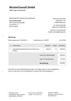 Rechnungsvorlage für Beratung