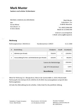 Rechnungsvorlage für Vermietung