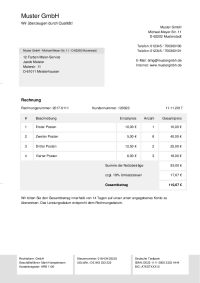 Rechnungsvorlage mit Umsatzsteuer